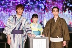 広瀬すず&菅田将暉 300発の花火に感激! 浴衣姿で映画PR